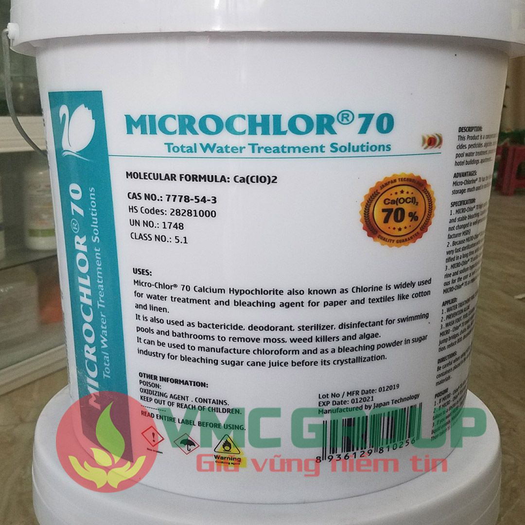 clorin nhat microchlor 70 thung 20kg